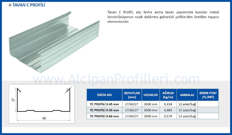 Galvanizli U ve C Profilleri Asma Tavan Toptan Satış Fiyatları